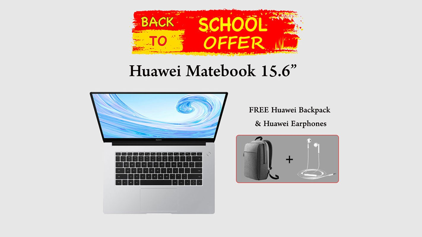 Huawei Matebook D 15.6-inch Intel PRO Core i5 8GB 256GB SSD + FREE Huawei Backpack & Huawei Earphones