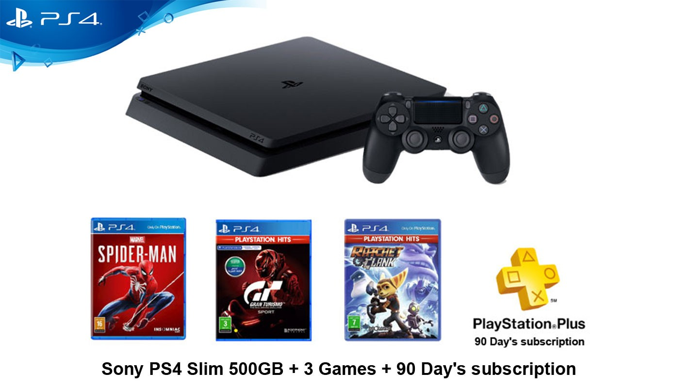 Sony PS4 Slim 500GB + 3 Games + 90 Day's subscription